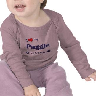 Amo mi Puggle el perro masculino Camiseta
