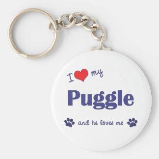 Amo mi Puggle (el perro masculino) Llavero Redondo Tipo Pin