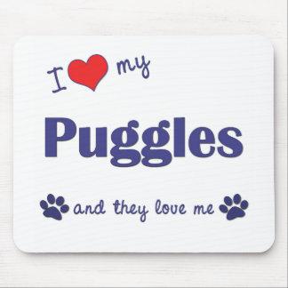 Amo mi Puggles (los perros múltiples) Alfombrilla De Ratón