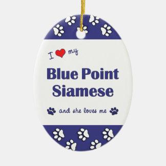 Amo mi punto azul siamés el gato femenino ornamento de navidad