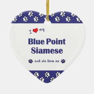 Amo mi punto azul siamés el gato femenino ornamentos de reyes