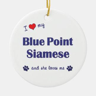 Amo mi punto azul siamés el gato femenino ornamento de reyes magos