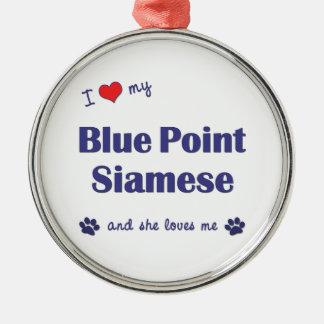 Amo mi punto azul siamés el gato femenino adorno de reyes