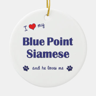 Amo mi punto azul siamés el gato masculino adornos de navidad