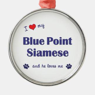 Amo mi punto azul siamés el gato masculino ornamento para arbol de navidad