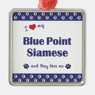 Amo mi punto azul siamés los gatos múltiples ornamento de navidad