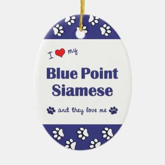 Amo mi punto azul siamés los gatos múltiples ornamentos de reyes magos