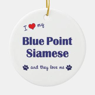 Amo mi punto azul siamés los gatos múltiples ornaments para arbol de navidad