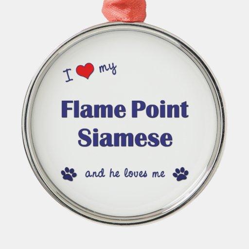 Amo mi punto de la llama siamés (el gato masculino ornamentos de reyes magos
