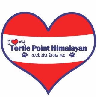 Amo mi punto de Tortie Himalayan (el gato femenino Adorno Fotoescultura