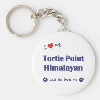 Amo mi punto de Tortie Himalayan (el gato femenino Llavero Redondo Tipo Pin