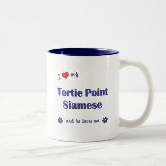 Amo mi punto de Tortie siamés (el gato masculino) Taza De Dos Tonos
