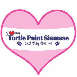Amo mi punto de Tortie siamés (los gatos múltiples Adorno Fotoescultura