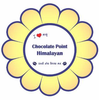 Amo mi punto del chocolate Himalayan (el gato feme Adorno Fotoescultura