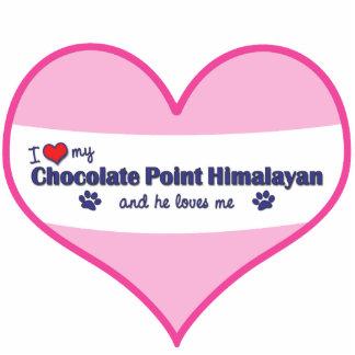 Amo mi punto del chocolate Himalayan (el gato masc Adorno Fotoescultura
