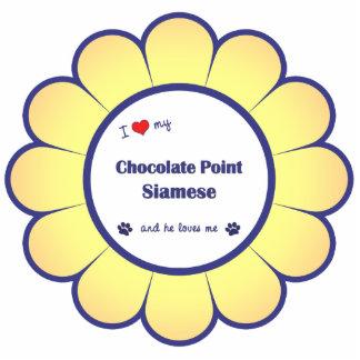 Amo mi punto del chocolate siamés (el gato masculi adorno fotoescultura