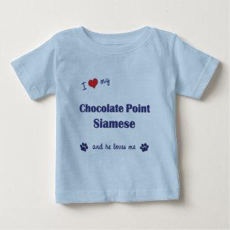 Amo mi punto del chocolate siamés (el gato playera de bebé