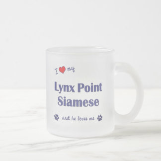 Amo mi punto del lince siamés (el gato masculino) taza de cristal