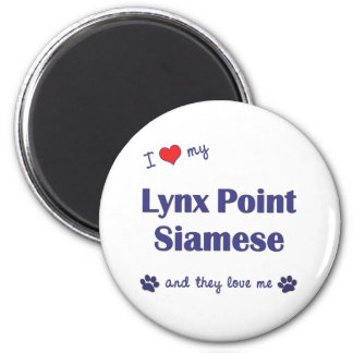 Amo mi punto del lince siamés (los gatos múltiples imán redondo 5 cm