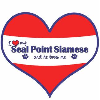 Amo mi punto del sello siamés (el gato masculino) adorno fotoescultura