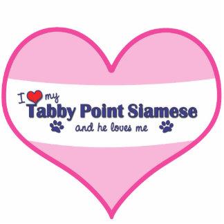 Amo mi punto del Tabby siamés (el gato masculino) Adorno Fotoescultura