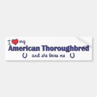 Amo mi pura sangre americano (el caballo femenino) pegatina para auto