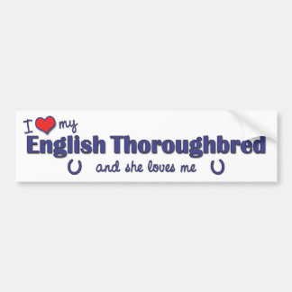 Amo mi pura sangre inglés (el caballo femenino) pegatina para auto