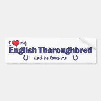 Amo mi pura sangre inglés (el caballo masculino) pegatina para auto