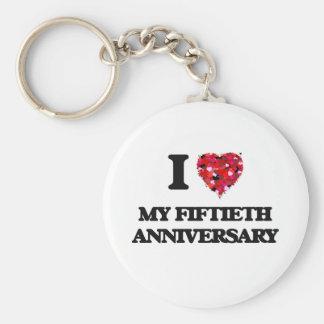 Amo mi quincuagésimo aniversario llavero redondo tipo pin