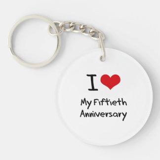 Amo mi quincuagésimo aniversario llavero redondo acrílico a doble cara