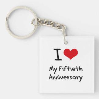 Amo mi quincuagésimo aniversario llavero cuadrado acrílico a una cara