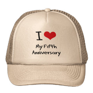 Amo mi quinto aniversario gorros bordados