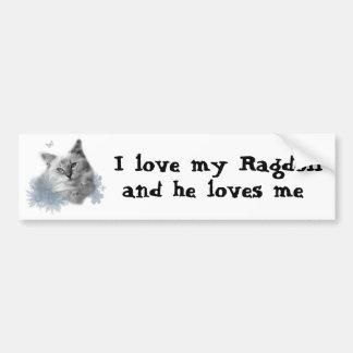Amo mi Ragdoll y él me ama pegatina para el parac Etiqueta De Parachoque