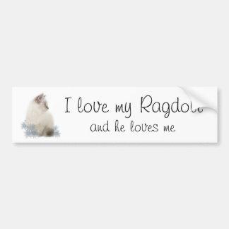 Amo mi ragdoll y él me ama pegatina para el parach pegatina para auto