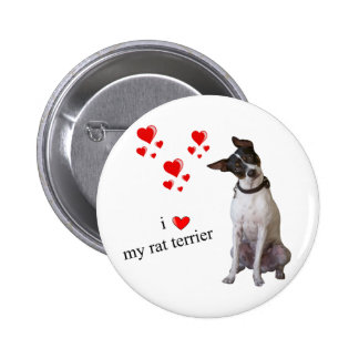 Amo mi rata Terrier Pin Redondo De 2 Pulgadas