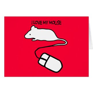 Amo mi ratón tarjeta de felicitación