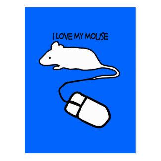 Amo mi ratón tarjeta postal