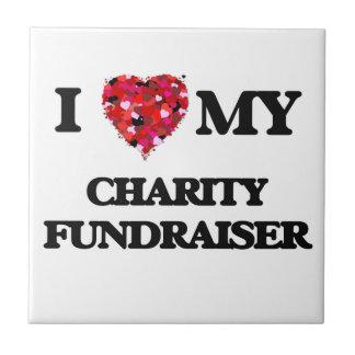 Amo mi recaudador de fondos de la caridad azulejo cuadrado pequeño