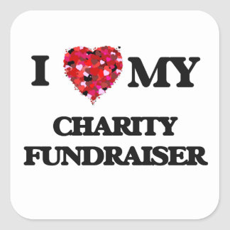Amo mi recaudador de fondos de la caridad pegatina cuadrada