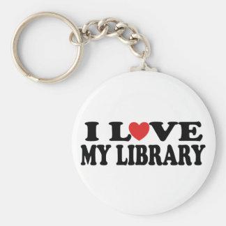 Amo mi regalo del bibliotecario de la biblioteca llavero redondo tipo pin