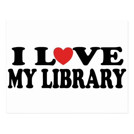 Amo mi regalo del bibliotecario de la biblioteca postales