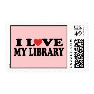 Amo mi regalo del bibliotecario de la biblioteca timbres postales