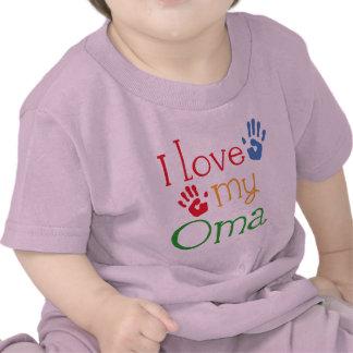 Amo mi regalo Handprints de Oma Camisetas