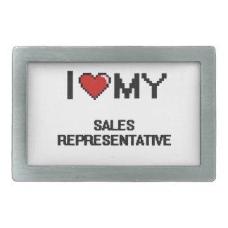 Amo mi representante de ventas hebilla de cinturon rectangular