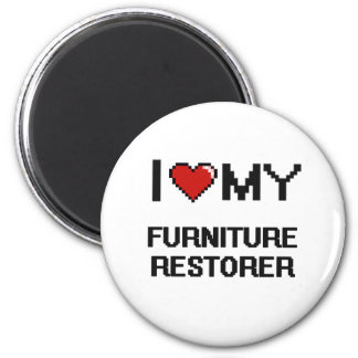 Amo mi restaurador de los muebles imán redondo 5 cm