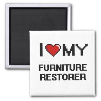 Amo mi restaurador de los muebles imán cuadrado