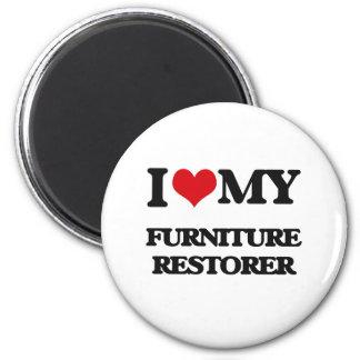 Amo mi restaurador de los muebles imán para frigorifico