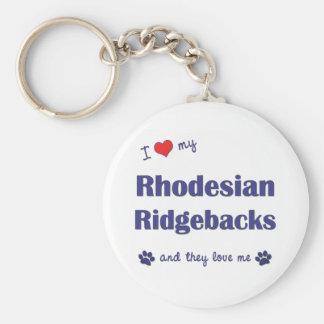 Amo mi Rhodesian Ridgebacks (los perros múltiples) Llaveros