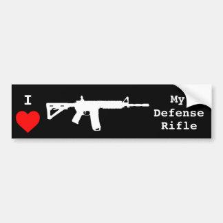 Amo mi rifle de la defensa pegatina para auto