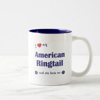 Amo mi Ringtail americano (el gato femenino) Taza De Café De Dos Colores